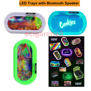 LED Rolling Trays Bluetooth Speaker Light Up Glow Tray Multi-LEDs Auto Party Plastic Plate for Dry Herb Tobacco Grinder Accessories