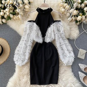 Повседневные платья NELLOE Halter O-HEE плечевые без бретелек женские платья Bling Sceded Tassel панель лоскутное сексуальное Bodycon Vestidos