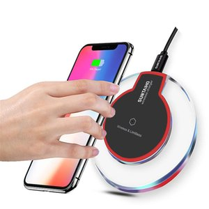 Charger sem fio Crystal Round Charging Pad para Samsung Galaxy Nota 9 10 8 S8 S7 S7 Edge Qi-Habled Dispositivo para iphone 11 x Xs Max XR