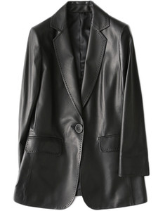 Nerazzurri Pu Black Blazer Long Sleeve Single Button Plus Size Outerwear Spring Leather Jacket Women Fashion 2020