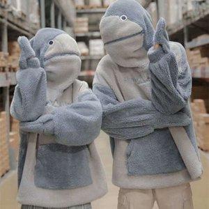 겨울 귀여운 소녀의 새로운 자체 닫는 상어 틈새 디자인 후드 스웨터 캐시미어 작은 부부 패션 코트 727