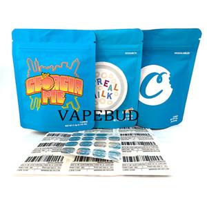 Cereal Leite 3.5 Cookies SF Packaging 420 Runtz Mylar Mylar PVC Zipper Saco Personalizado Smell Prova Mochila Com 3D Holograma Adesivos Etiqueta