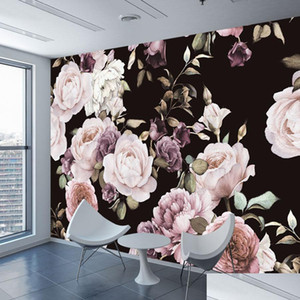 Custom 3d Wallpaper Mural Hand Painted Black White Rose Peony Flower Wall Mural Living Room Home Decor Pai jllAwk sinabag