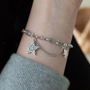 925 silver flash Diamond Star chain ins bracelet women's simple sense niche senseries silver texture bracelet