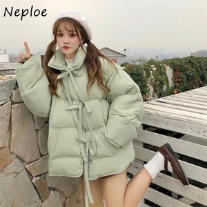 Neploe Sweet Cute Pillow Collar Drawstring Parkas New Loose Winter Women Jacket Solid Color Fashion Double Pockets Cotton Coat 201211