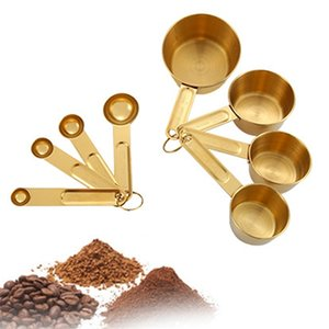8pcs in acciaio inox in acciaio inox oro tazze di misurazione cucchiai set secco e ingredienti fluidi da cucina utensili da cucina all'ingrosso A28 201203
