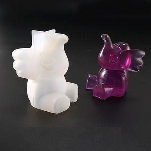 Cristal Cola Dumbo Bolo Silicone Molde Flying Elephant DIY Moldes Moldes de Cozimento para Home Ekitchen Ferramentas 2 estilos 8ym E1
