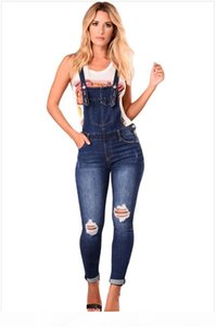 2018 Woman Overalls Jeans Fashion Cuffs Capris Denim Jeans Ripped Casual sexy bodysuit Free Shopping