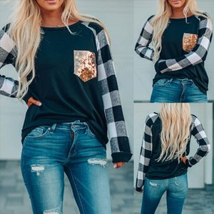 new arrival t shirt women O Neck Long Sleeves Plaid Print Sequins Splicing Easy fall Tops super quality camiseta mujer
