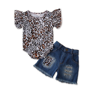 Wholesale INS Summer Baby Kids clothing sets Kids Summer Short-sleeve Leopard Rompers + Jeans Two-piece Newborn Suits