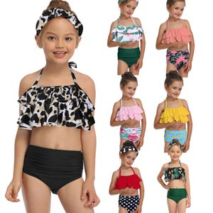 Green Leaf Bikini Sets For Toddler Girls and Girls Kids Children Swimsuits Swim Bathing Suits 2-14 Years