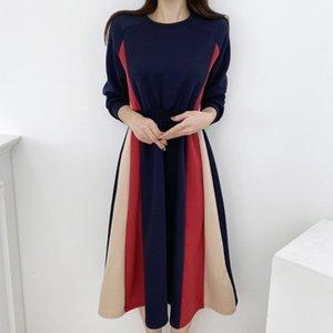 2021 Япония стиль женские платья корейский мода осень зима новая ретро простой тонкий лучший контраст срастания круглые шеи xds7