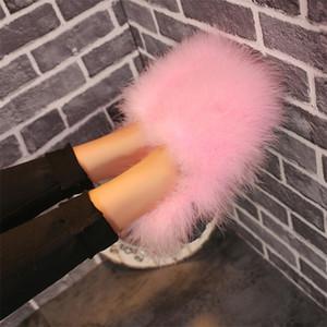 CINESSD Winter Cotton Slippers For Women Indoor Home Warm Plush Elegant Cotton Shoes Fashion Bag Heel Flat Women Cotton Shoes 201209
