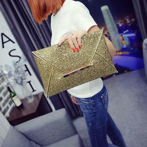 Einfache Art und Weise Frauen-Umschlag-Clutch-Bag Solid Color-Leder-Glitter-Geldbeutel-Partei Delicate Handtasche Damen Hochzeit Taschen B88 Q1116
