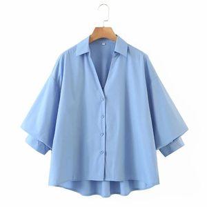 Mujeres V-cuello linterna manga flojo camisa casual femme sólido poplin blusa moda lady smock tops blusas s8155