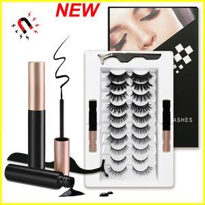 New Magnetic Eyelashes Kit Magnetic Eyeliner Makeup 10 Pairs Magnetic False Lashes Reusable Lashes Liquid Eyeliner Natural Look No Glue Need