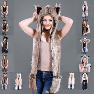 Hot-selling winter imitation leather hats plush animal hats cute cartoon Terrestrial animal hats scarf gloves one spot