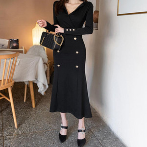 autumn spring fashion thick solid formal trumpet dress new arrival double breasted work style elegant vintage long mermaid dress