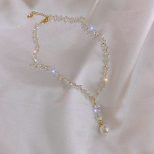 S1928 Hot Fashion Jewelry Crystal Pearl Dangle Beaded Neckleck Collarbone Elegant Choker Necklace