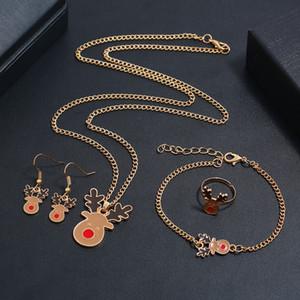 Accessori per Natale Gioielli Set regalo Set fresco Olio in lega Elk Collana Earring Anello Braccialetto Braccialetto