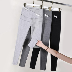 95% Cotton Across V Low Waist Belly Maternity Skinny Legging Adjustable Pants Clothes for Pregnant Women Spring Pregnancy