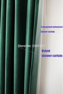 Luxury Nordic Retro Green color shower curtain Double layer velvet bath curtain with gold hooks for Bathroom Shower Room