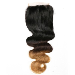100% Charming Human Hair Body Wave T1B 4 27# 4*4 Lace Wig Hair Block Three-color Gradient