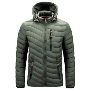 Mens Parkas Autumn Winter Thick Puffer Jacket Cotton-Padded Hooded Duck Jacket Mens Winter Jacket Breast Pockets Zipper 201120