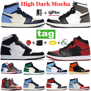 Top Quality 1 Mens Basquetebol Tênis 1S Jumpman High Dark Mocha Twist Unc Chicago Roral Toe Mid Light Fumaça Cinza Speakers Sneakers Treinadores