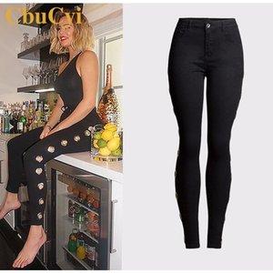 Cochcyi Primavera Mulheres Mulheres Preto Denim Jeans Plus Size 3XL Fino Stretch Calças Stretch Calças Senhoras Casual Algodão Lápis Pant