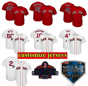 Personalizado Boston Mens Jersey Boston 2018 World Series World Series Champions Remendo Mookie Betts Andrew Benintendi Baseball Jerseys