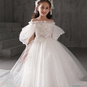 Children's dress princess skirt walking girl evening dress flower children's wedding dress little girl piano