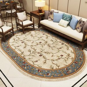 Pastoral Oval Carpets For Living Room Home Decor Rugs Bedroom Sofa Coffee Table Floor Mat Thick Polypropylene Area Rug