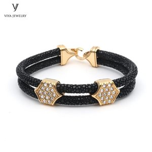 Genuine Black Stingray Men Bracelet Customize Color And Size Leather Cords Bracelet With Stainless Steel Hardware