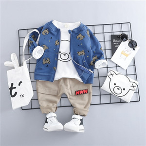 HYLKIDHUOSE Toddler Infant Clothes Suits Baby Boys Girls Clothing Sets Coats T Shirt Pants Children Kids Casual Coatume 201127