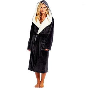 Bathrobe Women Winter Plush Lengthened Shawl Bathrobe Home Clothes Long Sleeved Robe Coat Peignoir Femme Bademantel1