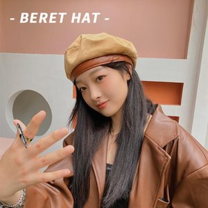 Beret Female Winter Hats For Women Flat Cap PU Brim Suede Vintage Boina Feminina England Painter Cap Gorras Planas New