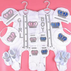 0-3 Monat Newbron Baby Mädchen Kleidung Set Weiße Farbe Baumwolle Body mit Krone Strass Kristall Baby Bodysuit Baby Tuch 201216