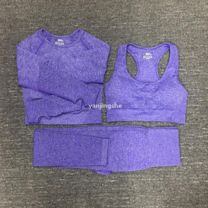 Mujer de algodón yoga traje Gymshark Sportwear Trajes de juego Deporte Fitness Set de tres piezas Set 3 Pantalones Sujetadores T Shirts Leggings Outfits 01