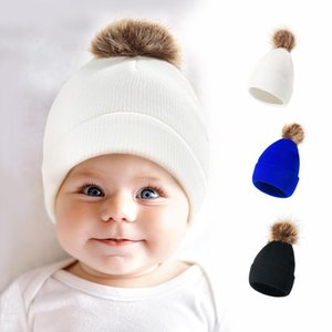 Baby Beanie Crochet Hats Christmas Winter Warm Knit Hat Baby Outdoor Pom Pom Knitted Skull Caps