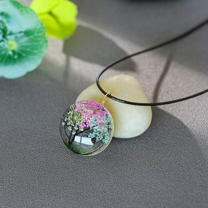 DHL Free Shipping Hot Sale Glass 9 Designs Flower Tree of Life Pendant Necklace for Gifts