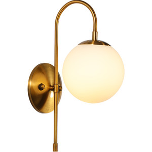 Postmodern minimalist copper living room wall lamp creative bedside bedroom study  wall lamp free shipping