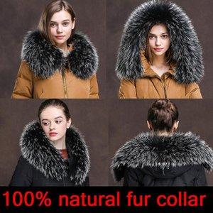 CLLIKKO 100% real colar de pele para parkas casacos luxo quente natural guaxinim lenço mulheres grandes colarinho de pele lenços casacos masculinos casaco