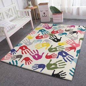 Carpets Fashion Modern Simple Color Art Palm Print Living Room Bedroom Kitchen Bedside Carpet Mat Customization
