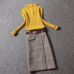 Autumn Winter New Korean Woman woolen Plaid Skirt Female Mid-length High Waist Split A step Bag Hip Midi Skirt