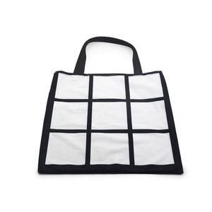 40 * 40 cm borse della spesa Sublimation Blank Blank Stoccaggio fai da te Borsa da stoccaggio Donne singolo lato nero 9 pannello bianco grande sacco popolare 12ex g2
