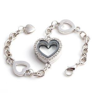 5PCS Hot Selling Crytsal Heart Floating Lockets Bracelet Alloy Wedding Women Bangle Jewellery