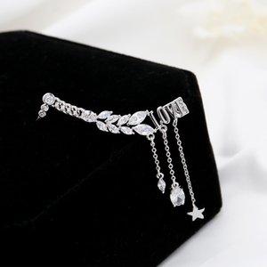 Korean fashion sweet inlaid zircon LOVE letter tassel earrings jewelry women trend romantic 18k gold plated star drop earrings holiday gift