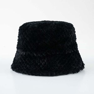40# Ladies Winter Cony Hair Bucket Hat Cute And Warm Caps Hunting Fishing Hat Lovely Beanies Winter Knitted Cap Bucket Hats