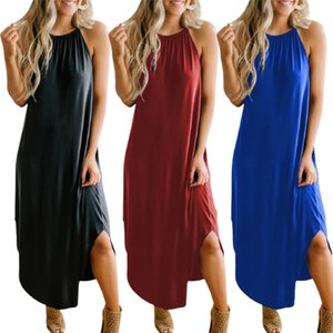 Movokaka Primavera Estate Dress Dress Long Donne Sexy Elegante Party Dress Donne Donne Senza maniche Abiti Donna Solid Color Plus Size Dress 2021 Q0111